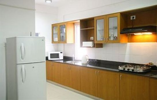 Küche im Zimmer Perfect Haven Egmore Serviced Apartments