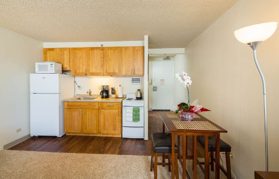 Kitchen in room Tropical Studios at Marine Surf Waikiki