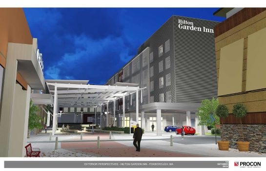 Buitenaanzicht Hilton Garden Inn Foxborough Patriot Place