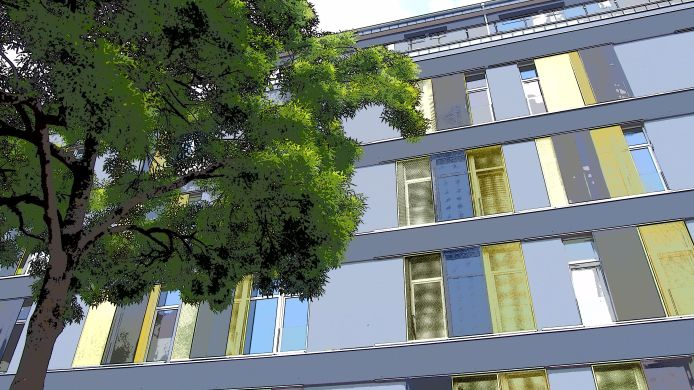 Buitenaanzicht Domapartment Aachen City