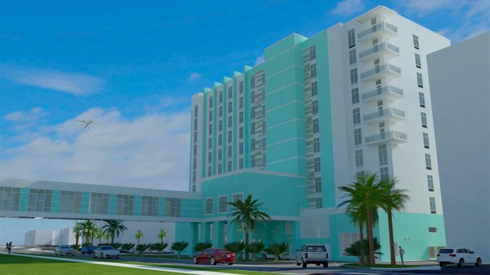 Exterior View Hampton Inn Suites Panama City Beach Beachfront Fl
